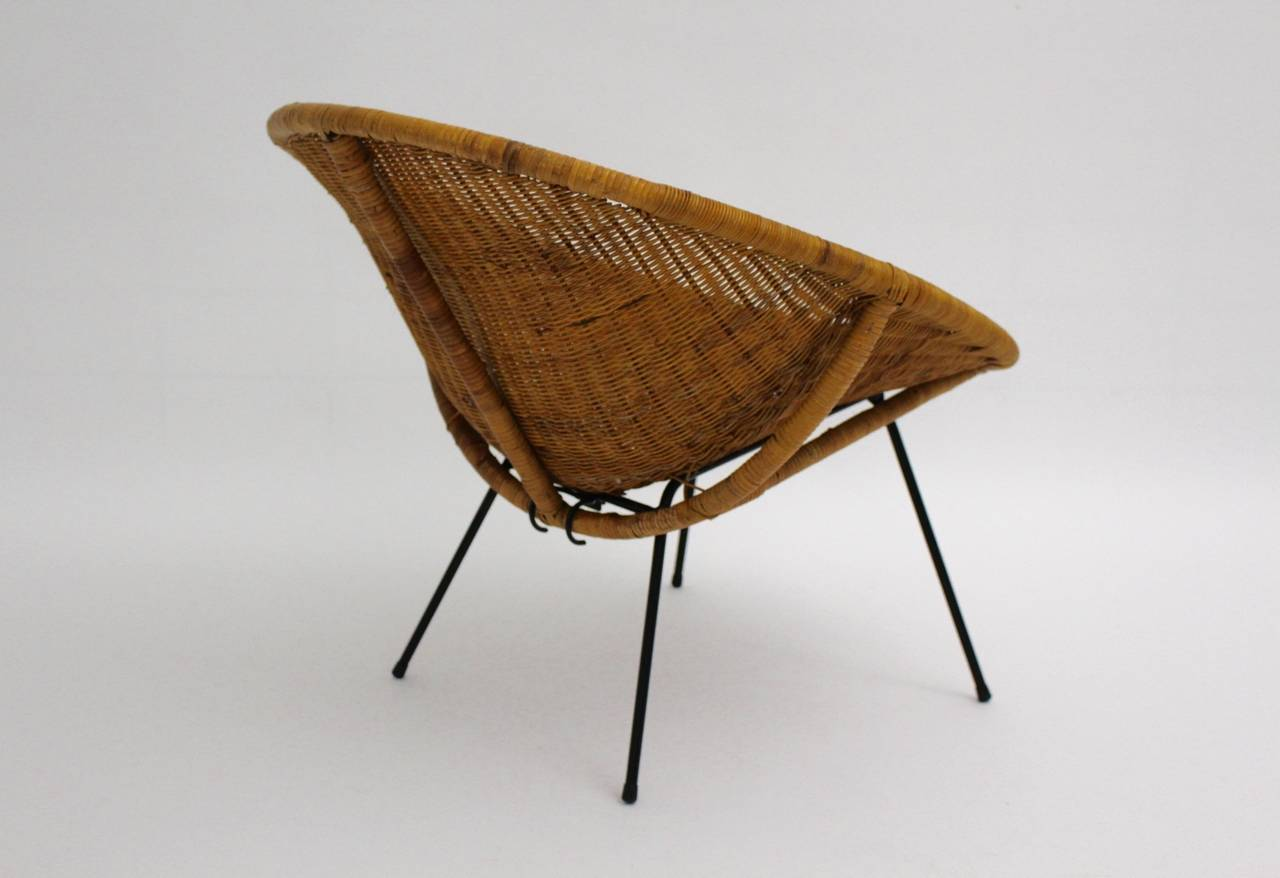 Lacquered Mid Century Modern Vintage  Rattan Club Chair France 1950s For Sale
