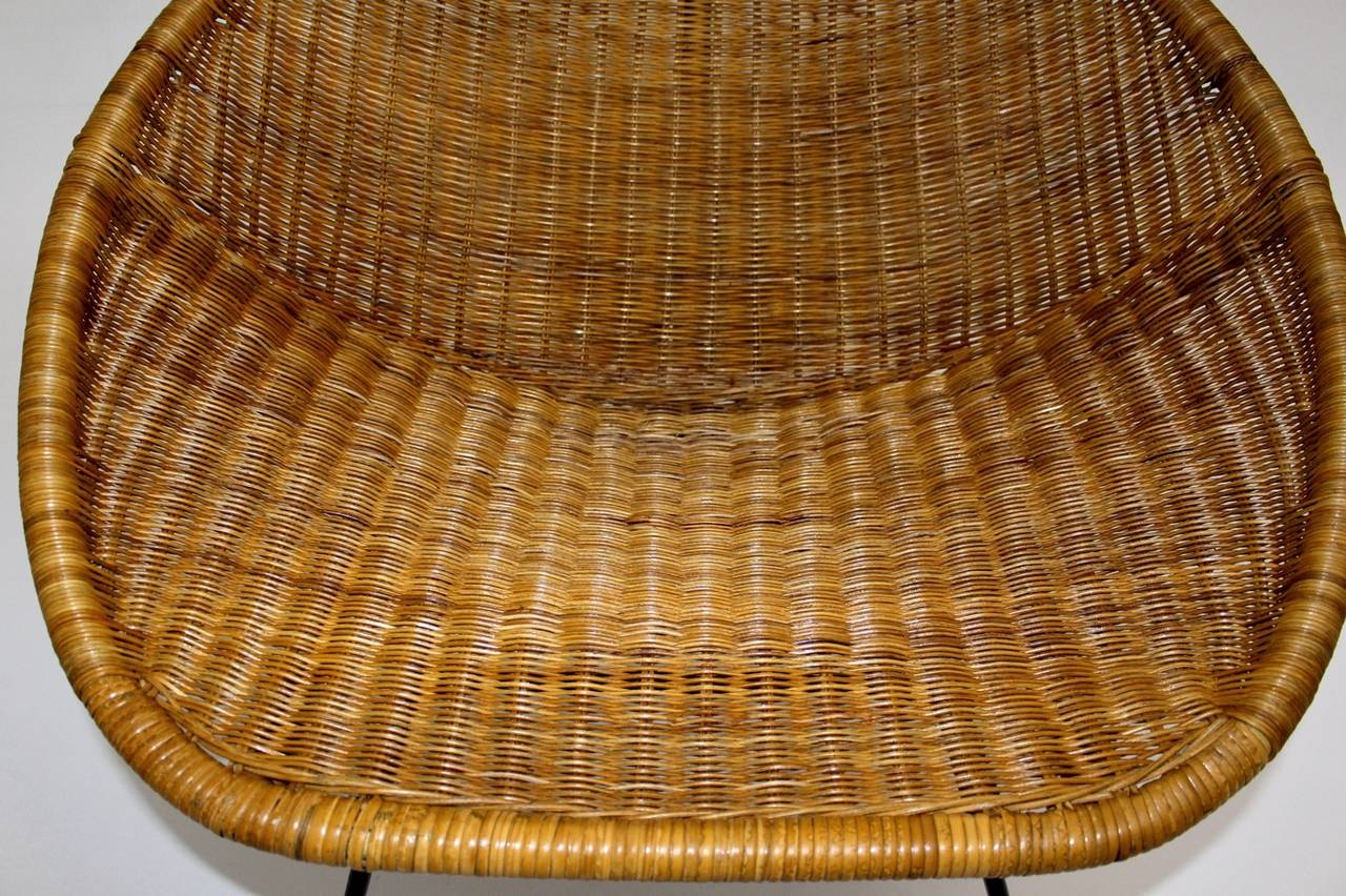 Rubber Mid Century Modern Vintage  Rattan Club Chair France 1950s For Sale