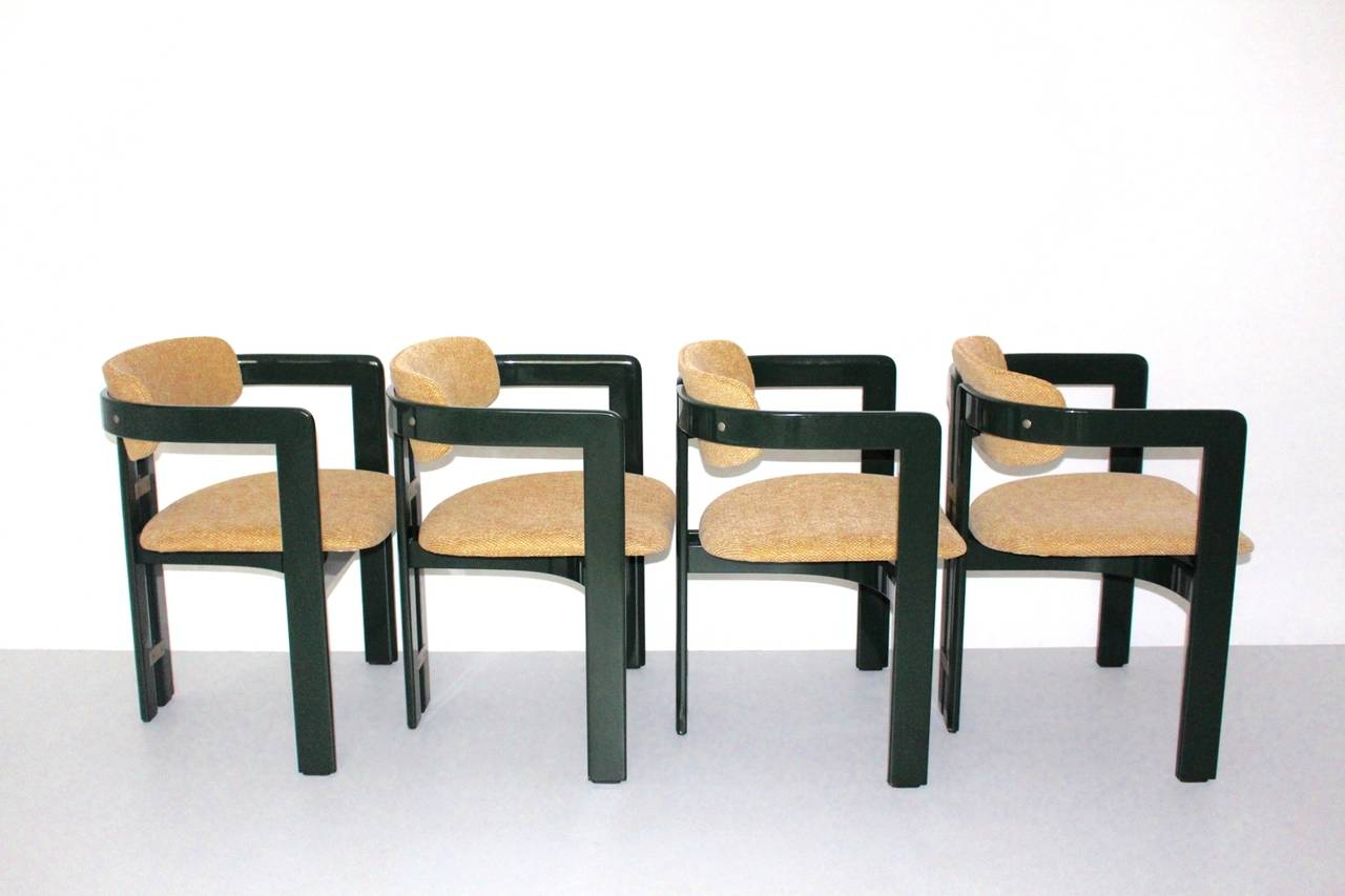 Mid Century Modern Green Comfortable Dining Chairs Pamplona By Augusto  Savini 1965 Italy For Sale