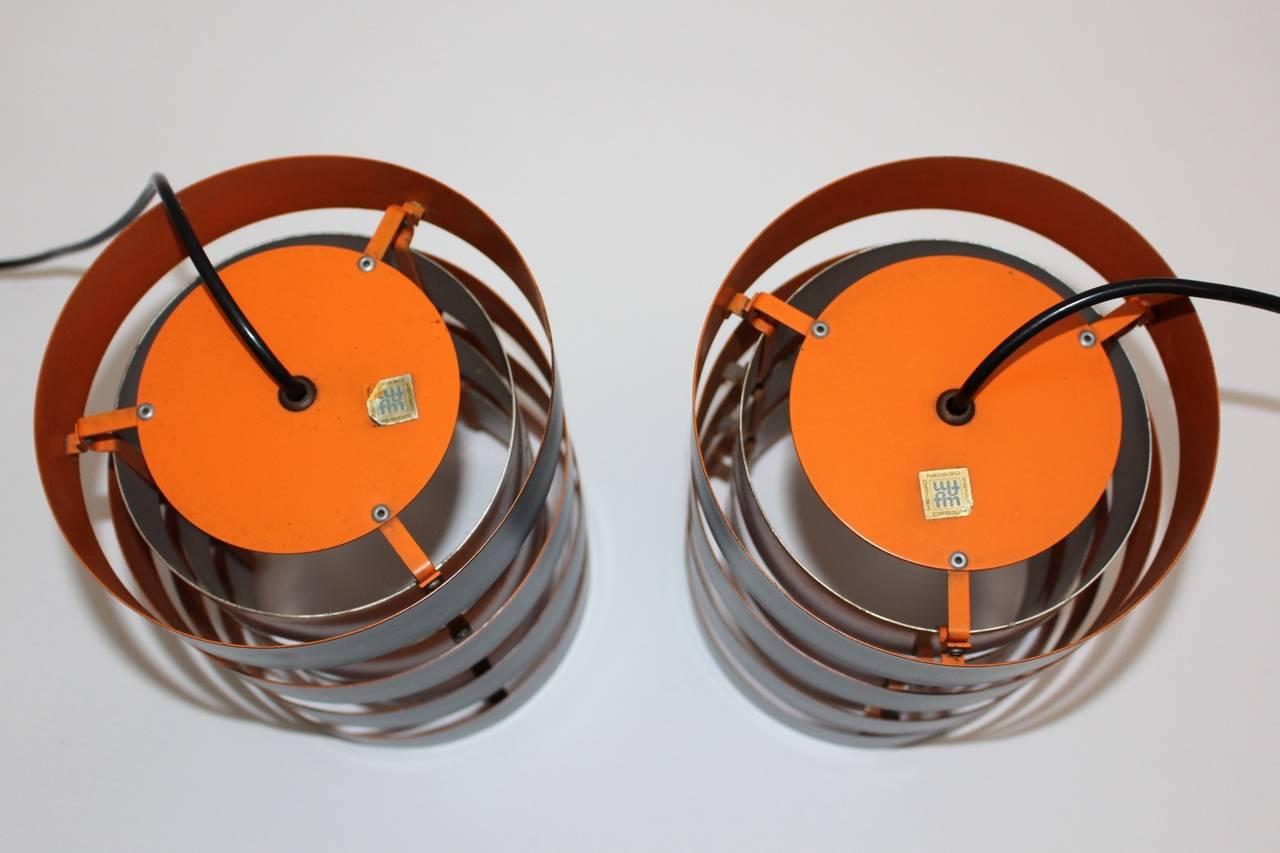 Lacquered Mid Century Modern Copper Black Vintage Chandelier Jo Hammerborg Denmark 1960s For Sale