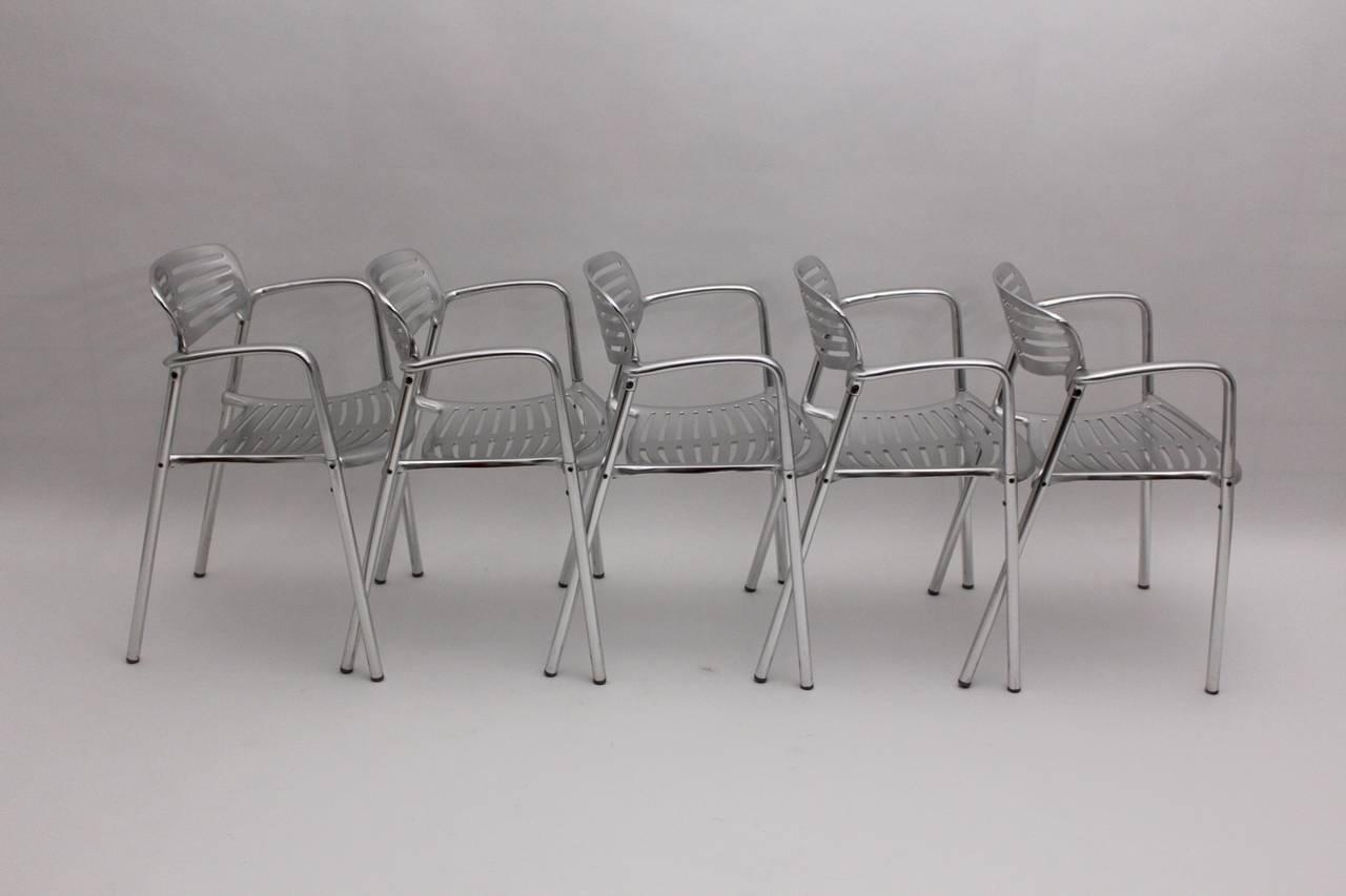 Spanish Modernist Metal Vintage Chairs Toledo by Jorge Pensi  Spain 1986-1988 For Sale