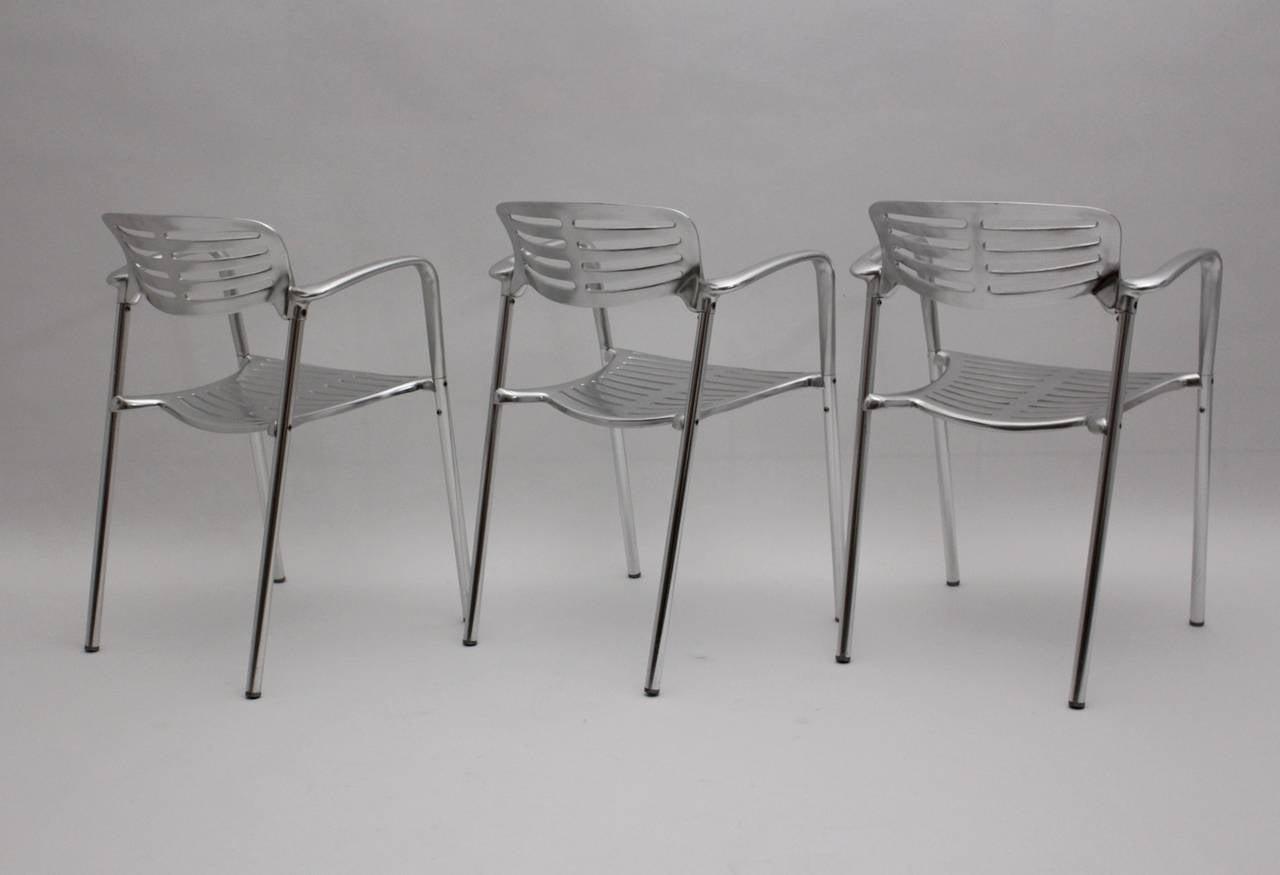 Set Of 5 Aluminium Chairs Toledo By Jorge Pensi Spain 1986