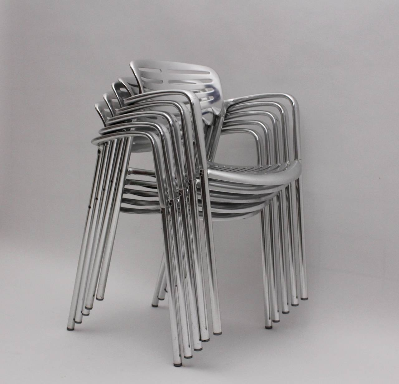 Late 20th Century Modernist Metal Vintage Chairs Toledo by Jorge Pensi  Spain 1986-1988 For Sale