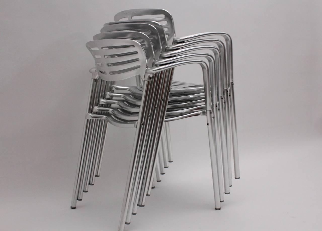 Aluminum Modernist Metal Vintage Chairs Toledo by Jorge Pensi  Spain 1986-1988 For Sale
