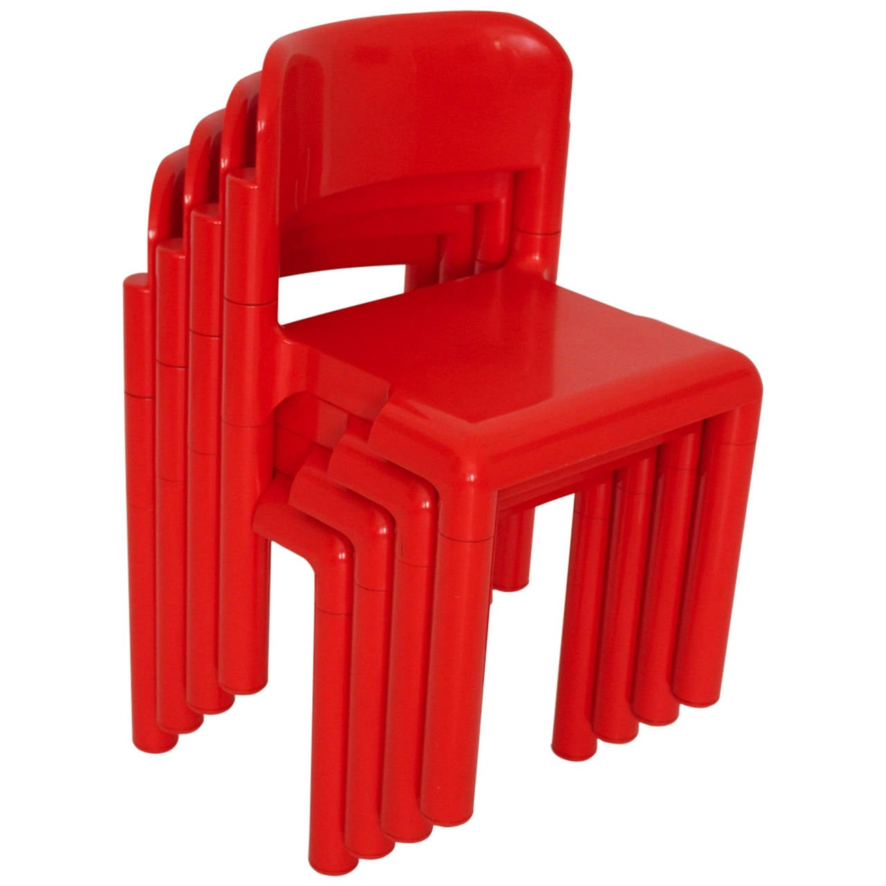 red space age set of four stacking chairs by eero aarnio 1