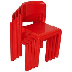 Red Space Age Vintage Set of Four Plastic Chairs by Eero Aarnio, 1970s