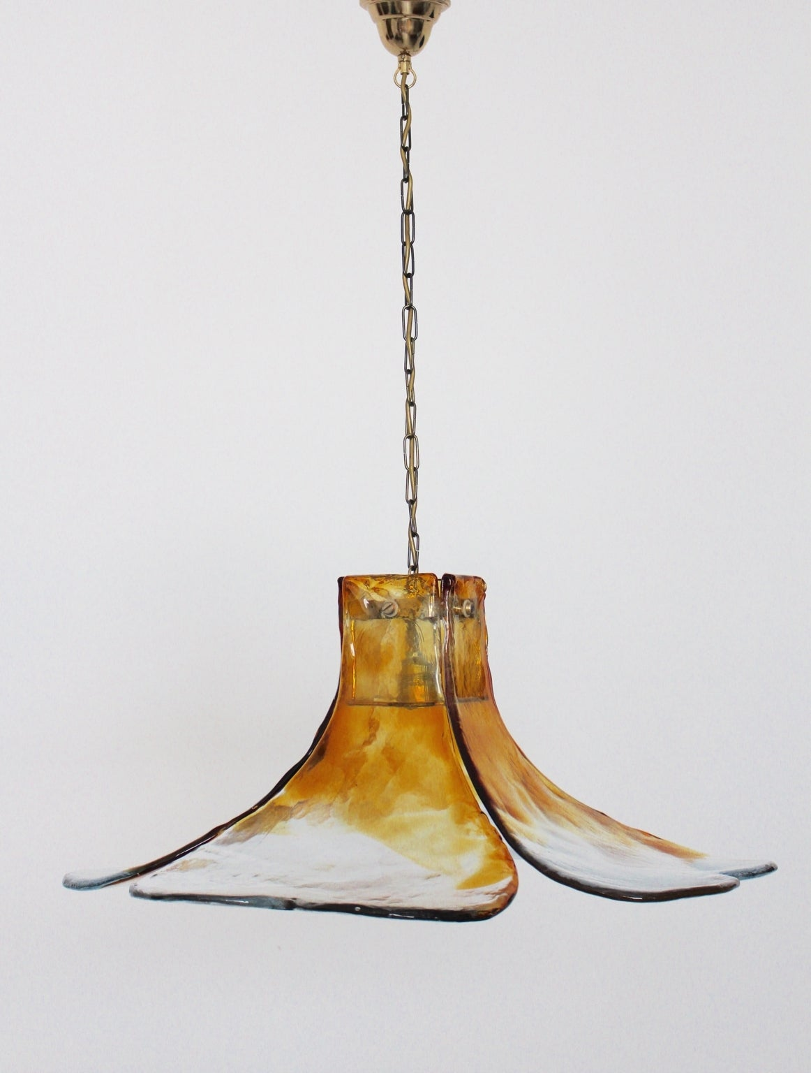 Amber Midcentury Glass Flower Chandelier by Carlo Nason Murano, 1960s In Excellent Condition For Sale In Vienna, AT