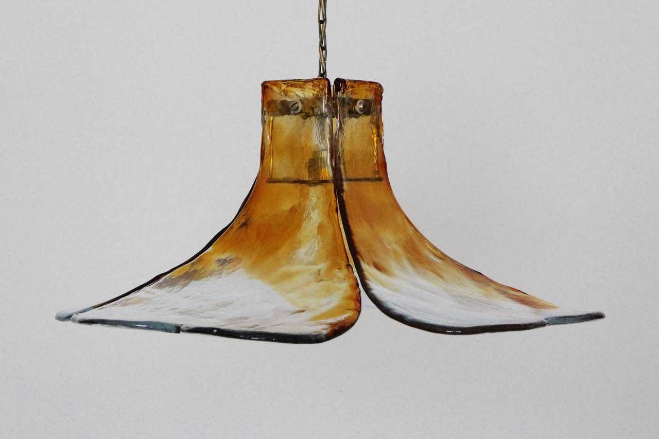 Amber Mid Century Glass Flower Chandelier by Carlo Nason Murano 1960s 2