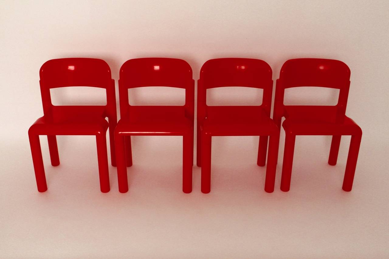 Finnish Red Space Age Vintage Set of Four Plastic Chairs by Eero Aarnio, 1970s For Sale