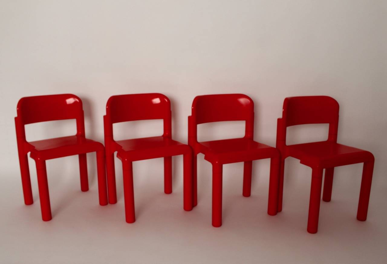 Fiberglass Red Space Age Vintage Set of Four Plastic Chairs by Eero Aarnio, 1970s For Sale