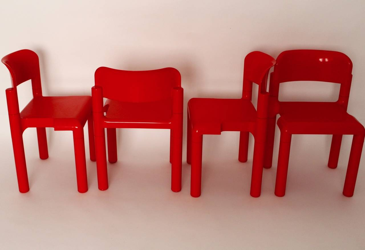 Red Space Age Vintage Set of Four Plastic Chairs by Eero Aarnio, 1970s For Sale 1