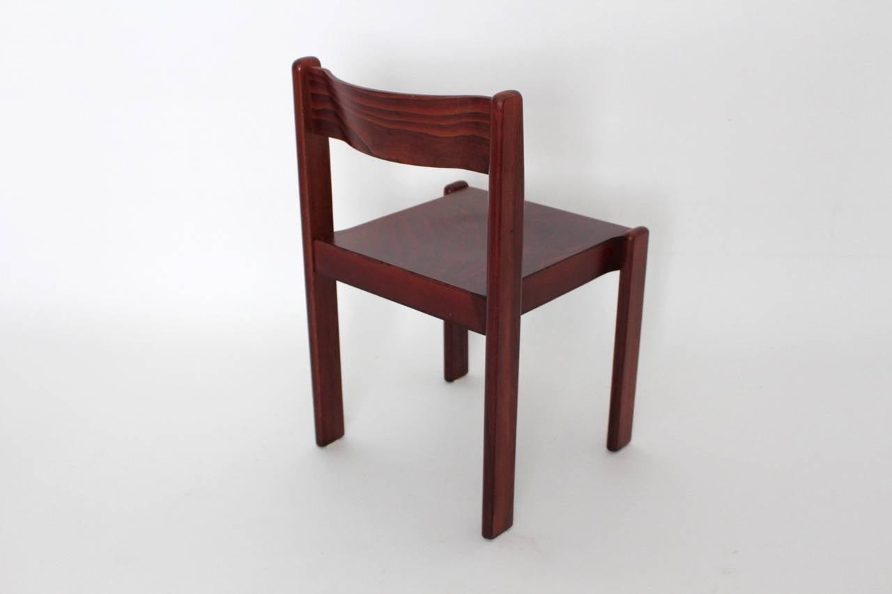 Brown Mid Century Modern Italian Design Dining Room Chairs