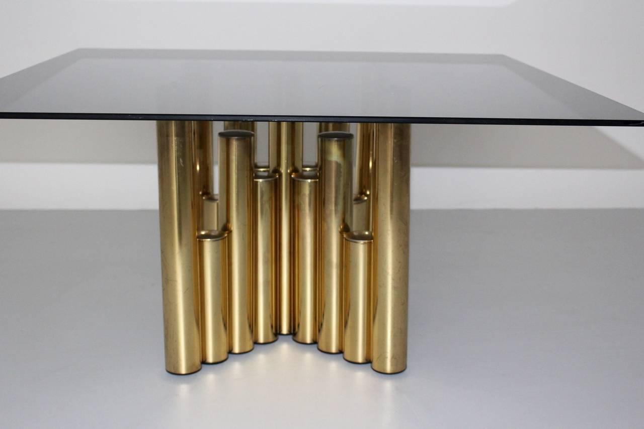 Unknown  Mid Century Modern Brass Vintage Coffee Table Manhattan 1960s For Sale