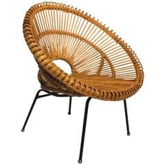Mid Century Modern Vintage Rattan Chair Janine Abraham DirkJan Rol France c 1960