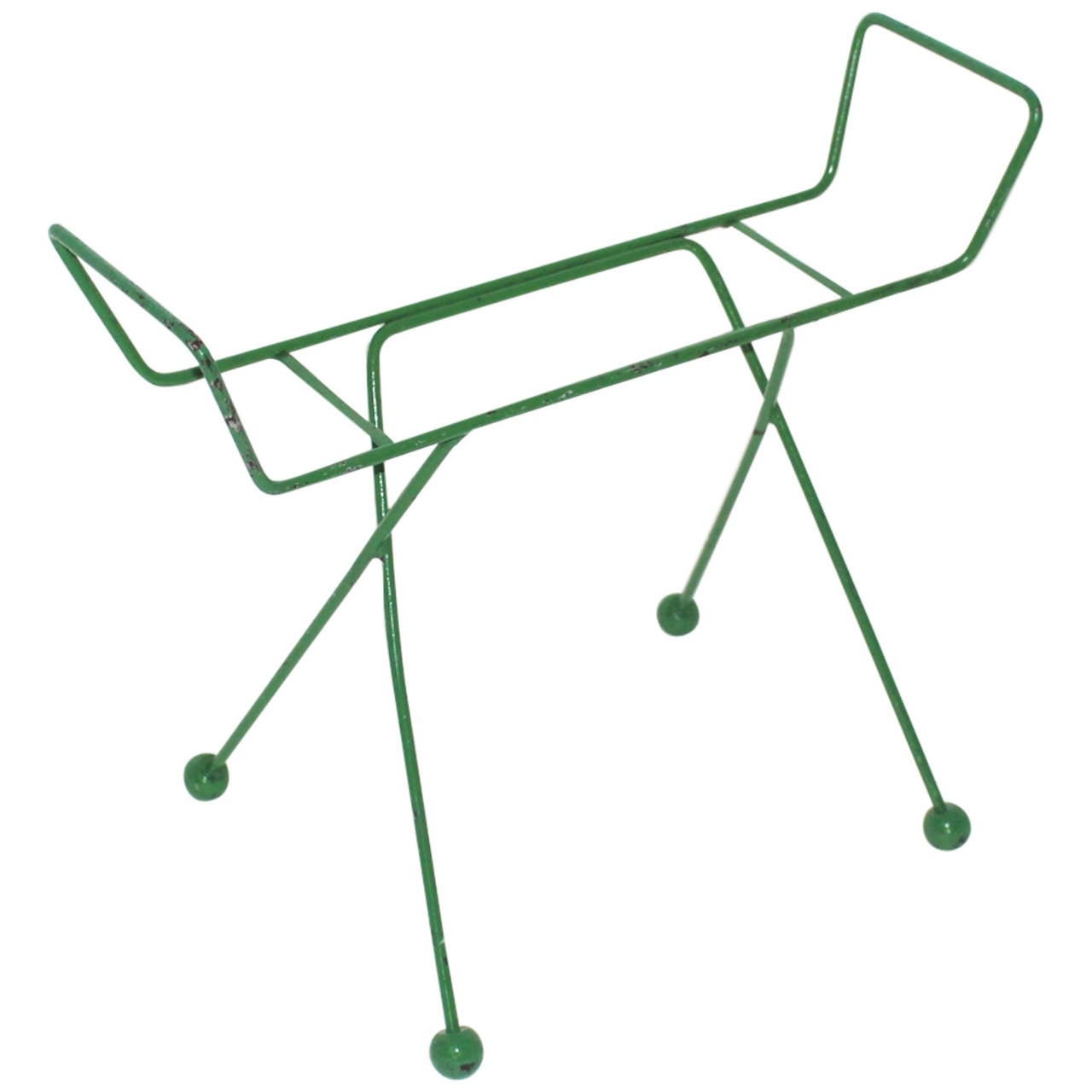 Mid Century Modern Green Metal Vintage Luggage Rack Attr to Jean Royère 1950s For Sale
