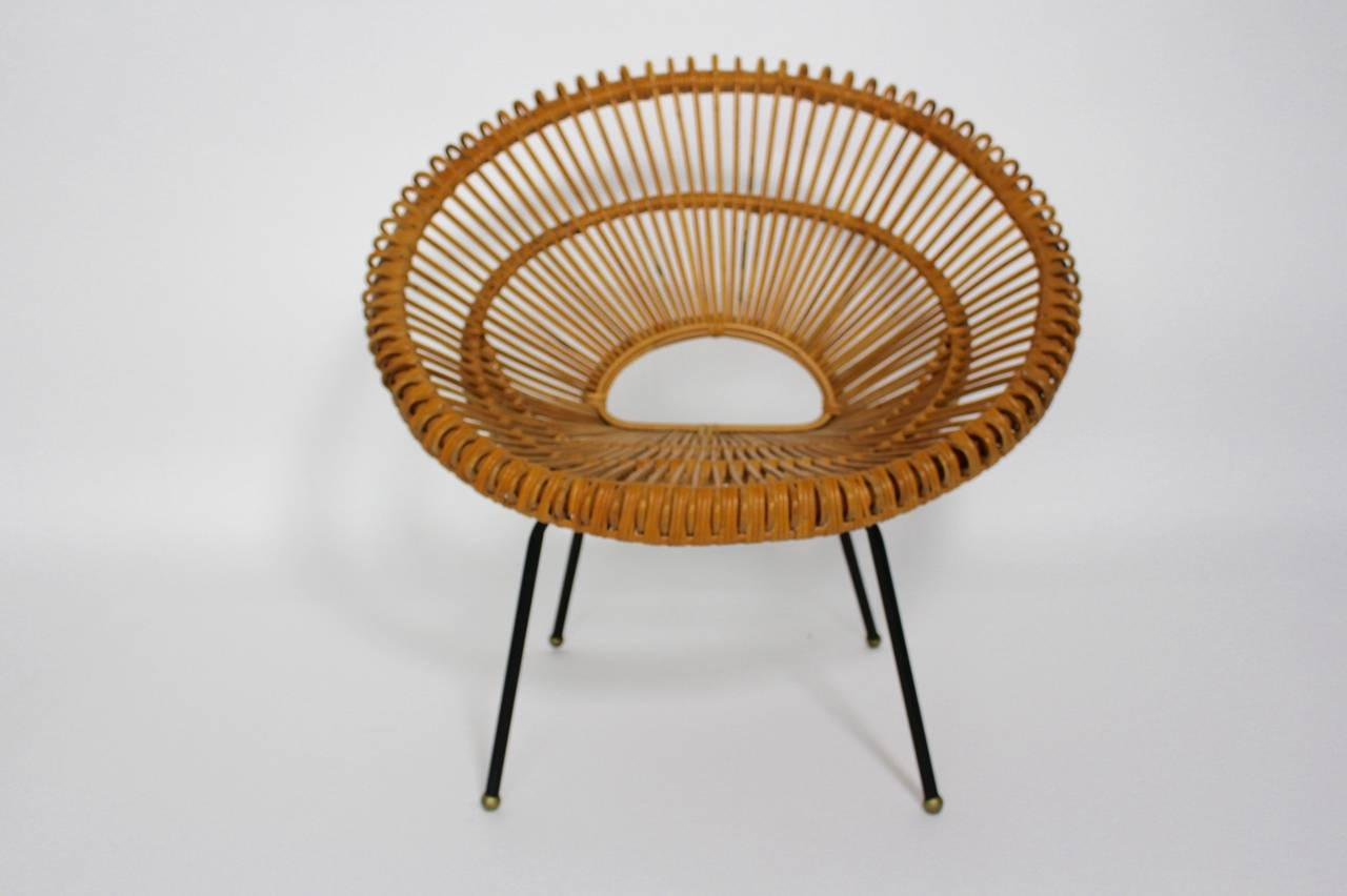 Genial Mid Century Modern French Rattan Chair By Janine Abraham And Dirk Jan Rol  Circa 1960