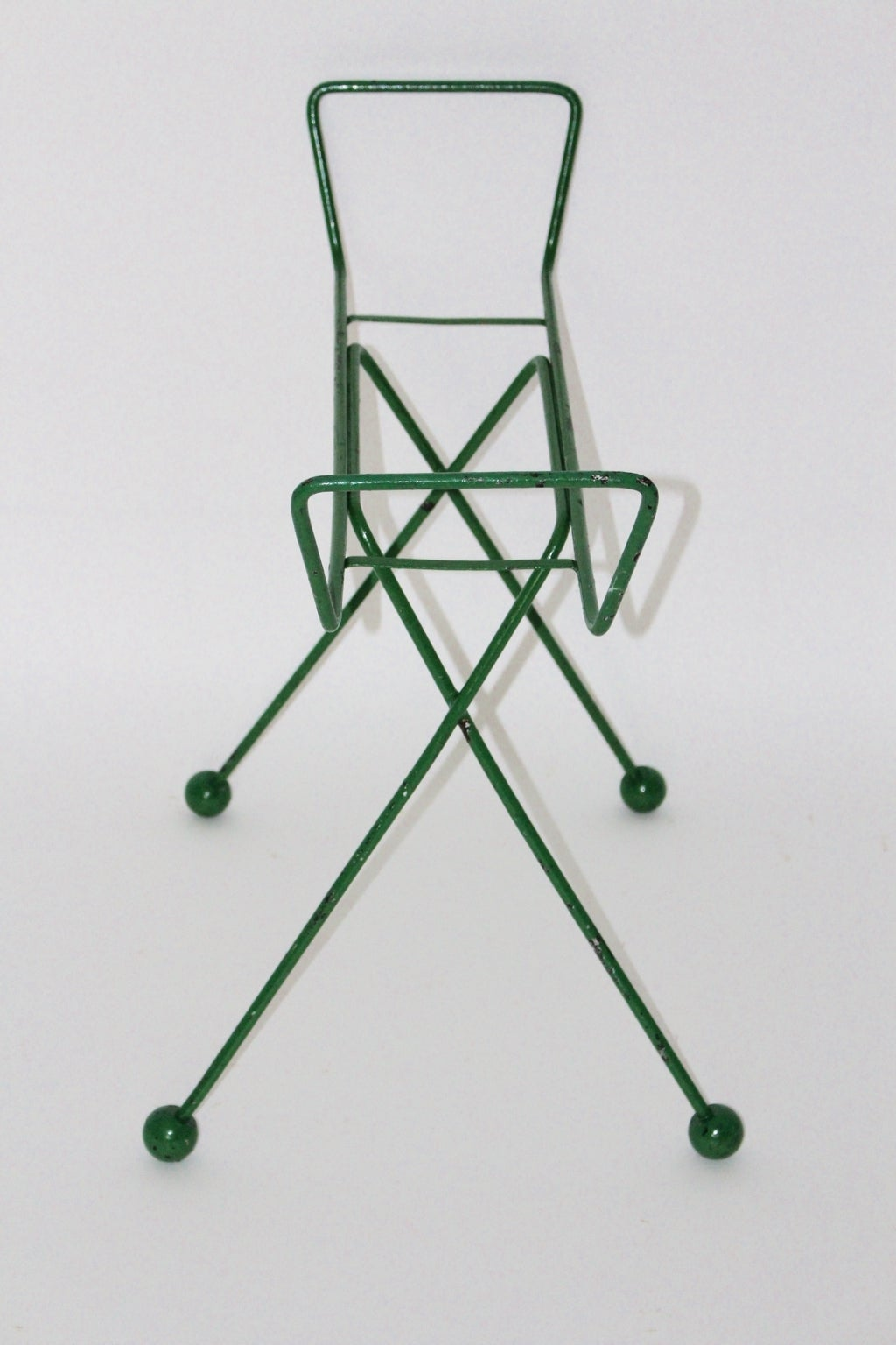 Mid Century Modern Green Metal Vintage Luggage Rack Attr to Jean Royère 1950s In Good Condition For Sale In Vienna, AT