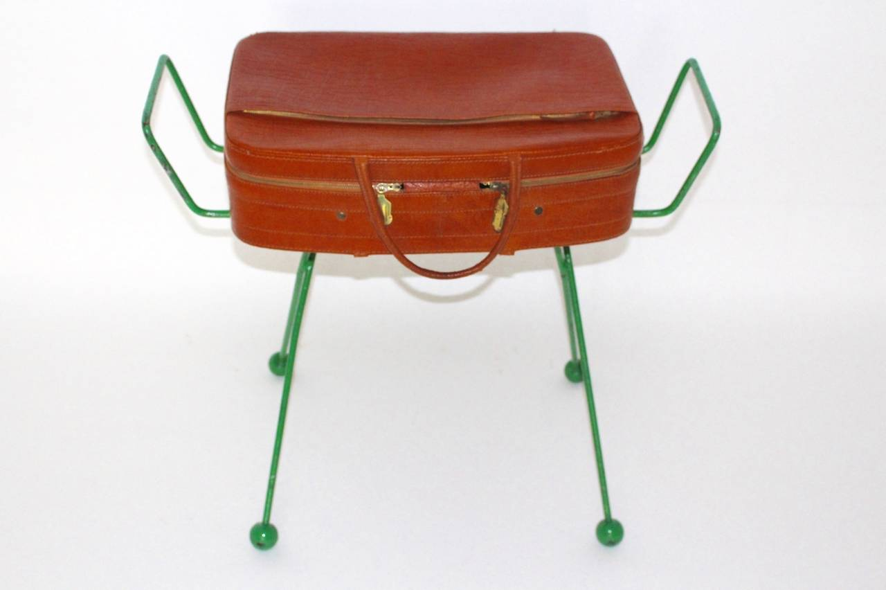 Lacquered Mid Century Modern Green Metal Vintage Luggage Rack Attr to Jean Royère 1950s For Sale