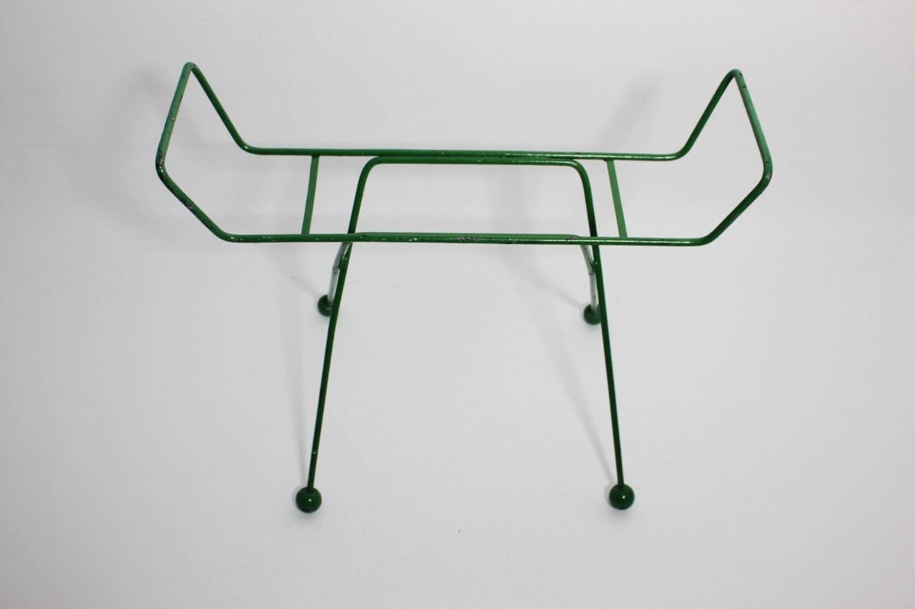 Mid-Century Modern Mid Century Modern Green Metal Vintage Luggage Rack Attr to Jean Royère 1950s For Sale