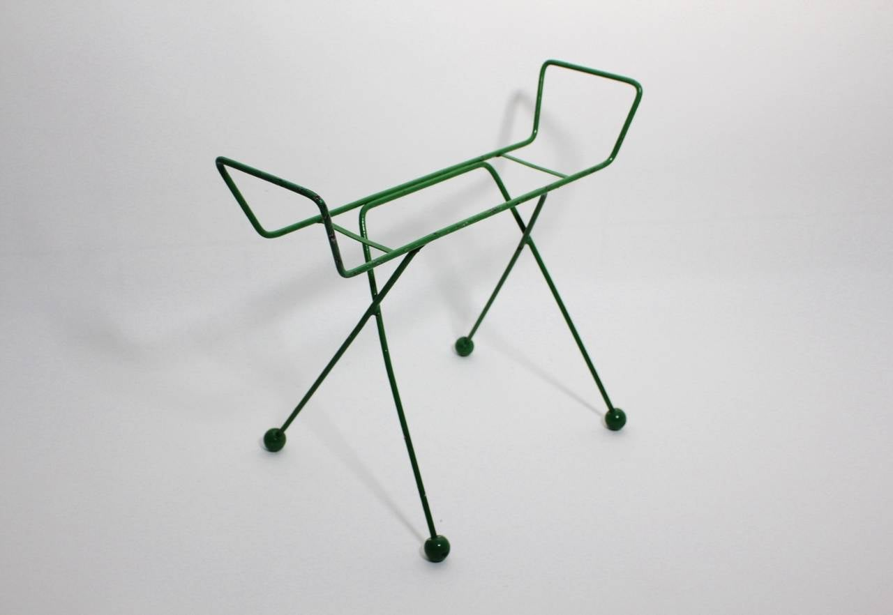 French Mid Century Modern Green Metal Vintage Luggage Rack Attr to Jean Royère 1950s For Sale