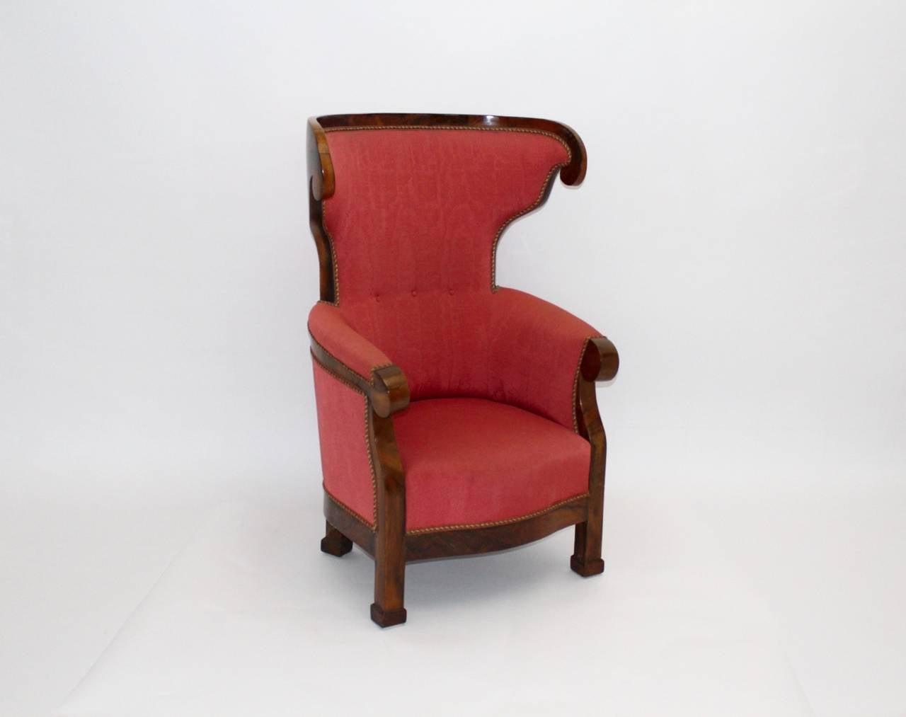 Austrian Biedermeier Walnut Wood Pink Fabric Wingback Chair circa 1825 Vienna For Sale