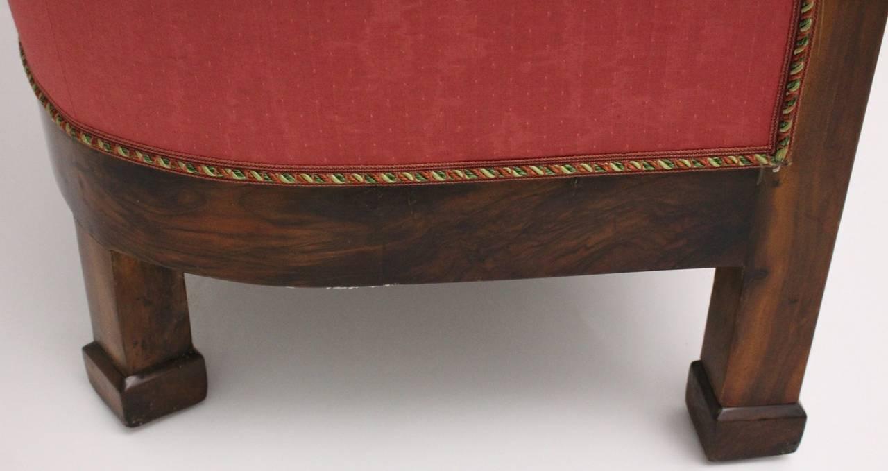 Biedermeier Walnut Wood Pink Fabric Wingback Chair circa 1825 Vienna For Sale 2
