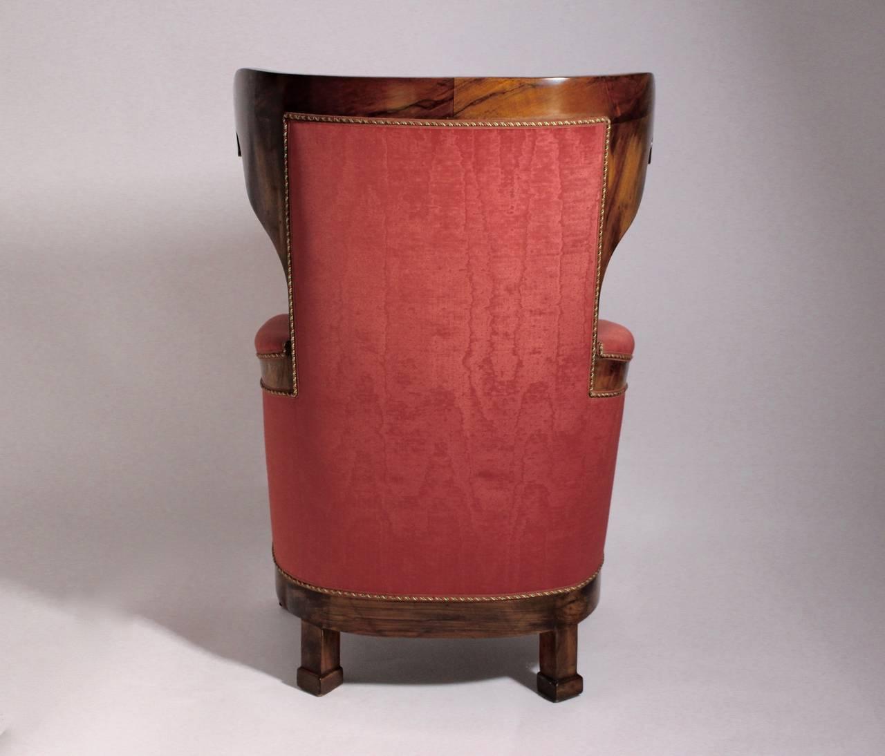 Veneer Biedermeier Walnut Wood Pink Fabric Wingback Chair circa 1825 Vienna For Sale