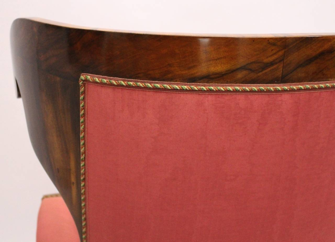 Biedermeier Walnut Wood Pink Fabric Wingback Chair circa 1825 Vienna For Sale 4