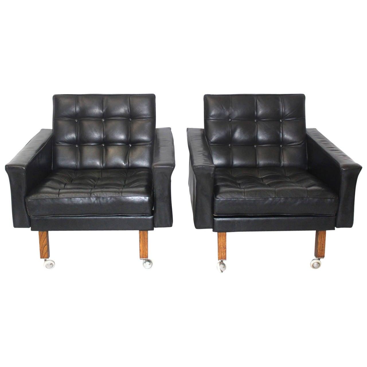 Black Leather Pair of Armchairs by Johannes Spalt, Austria, circa 1959