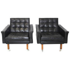 Black Leather Pair of Armchairs by Johannes Spalt, Austria, circa 1959