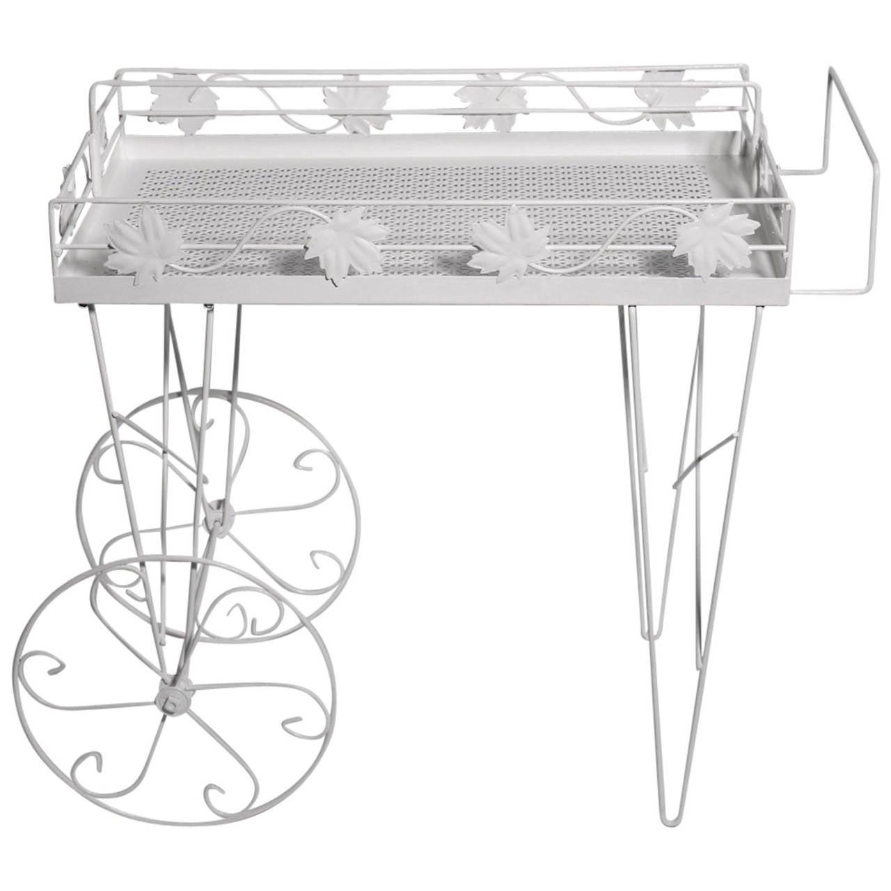 White Italian Mid-Century Modern Bar Cart, 1950s