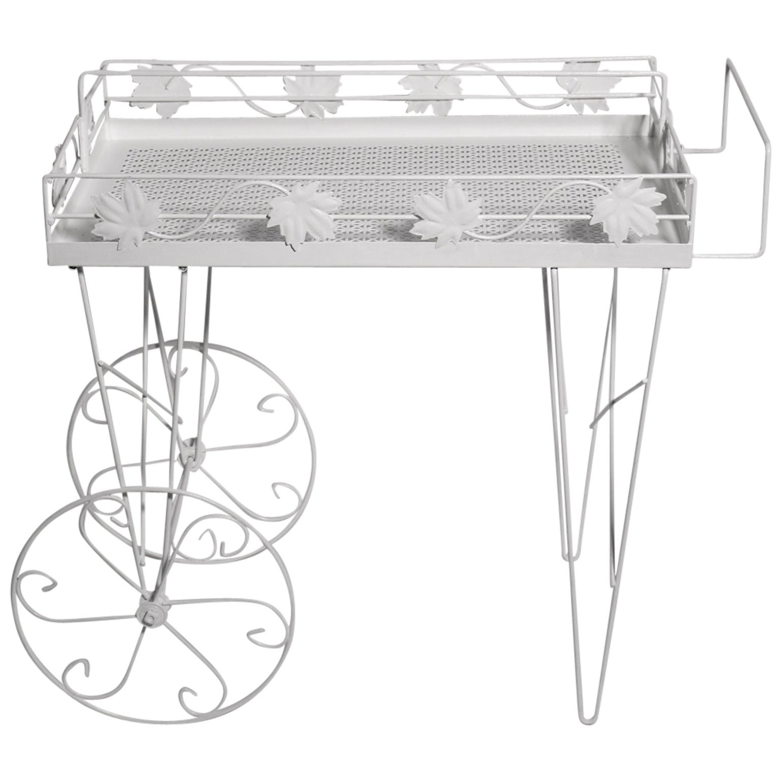 Mid Century Modern White Vintage Metal Bar Cart or Serving Table 1950s Italy