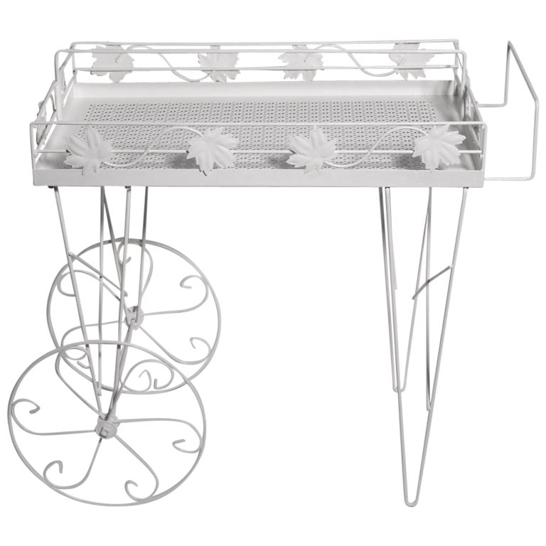 Mid Century Modern White Vintage Metal Bar Cart or Serving Table 1950s Italy For Sale