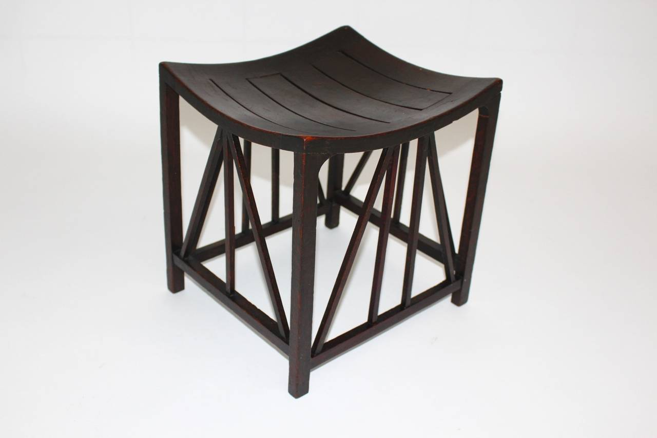 Late 19th Century Arts & Crafts Oakwood Thebes Stool 1910 by Liberty & Co UK For Sale