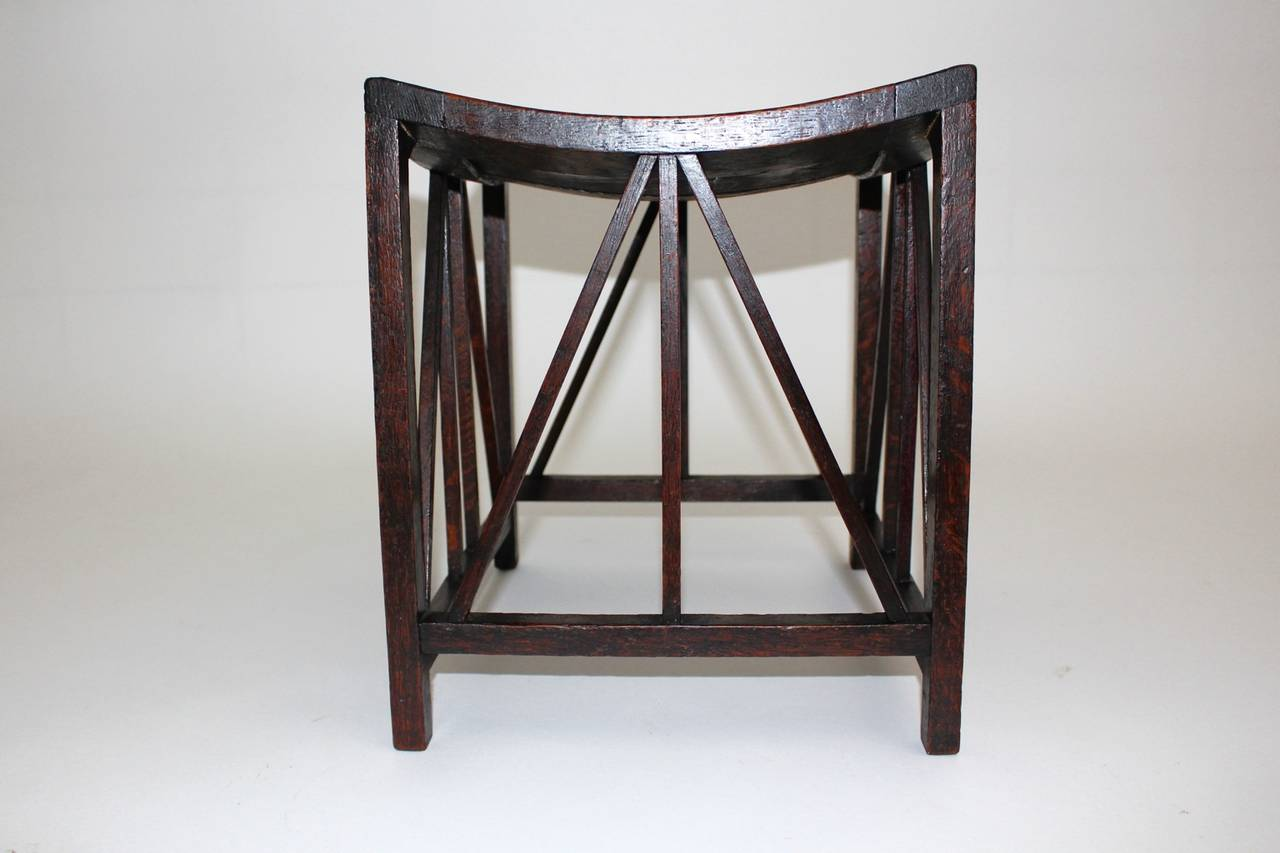Arts & Crafts Oakwood Thebes Stool 1910 by Liberty & Co UK For Sale 2