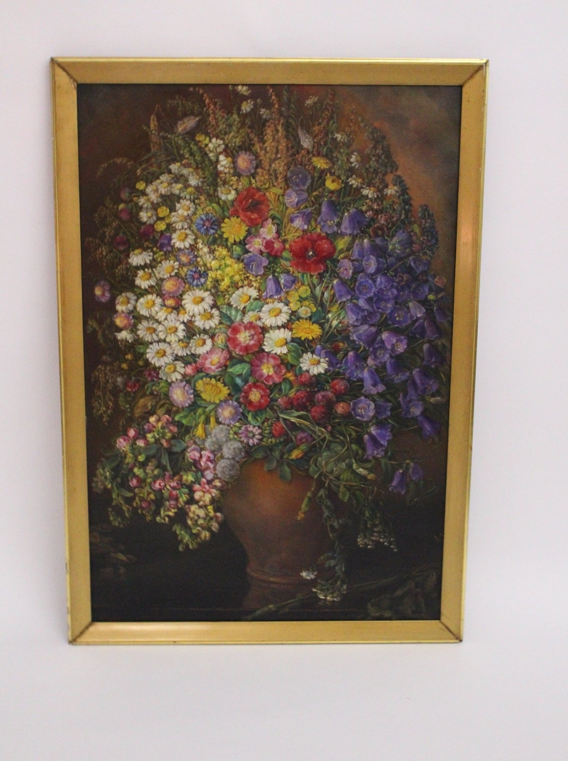 Wood Art Deco Vintage Painting Oil on Canvas Field Flowers by Emil Fiala 1933, Vienna For Sale