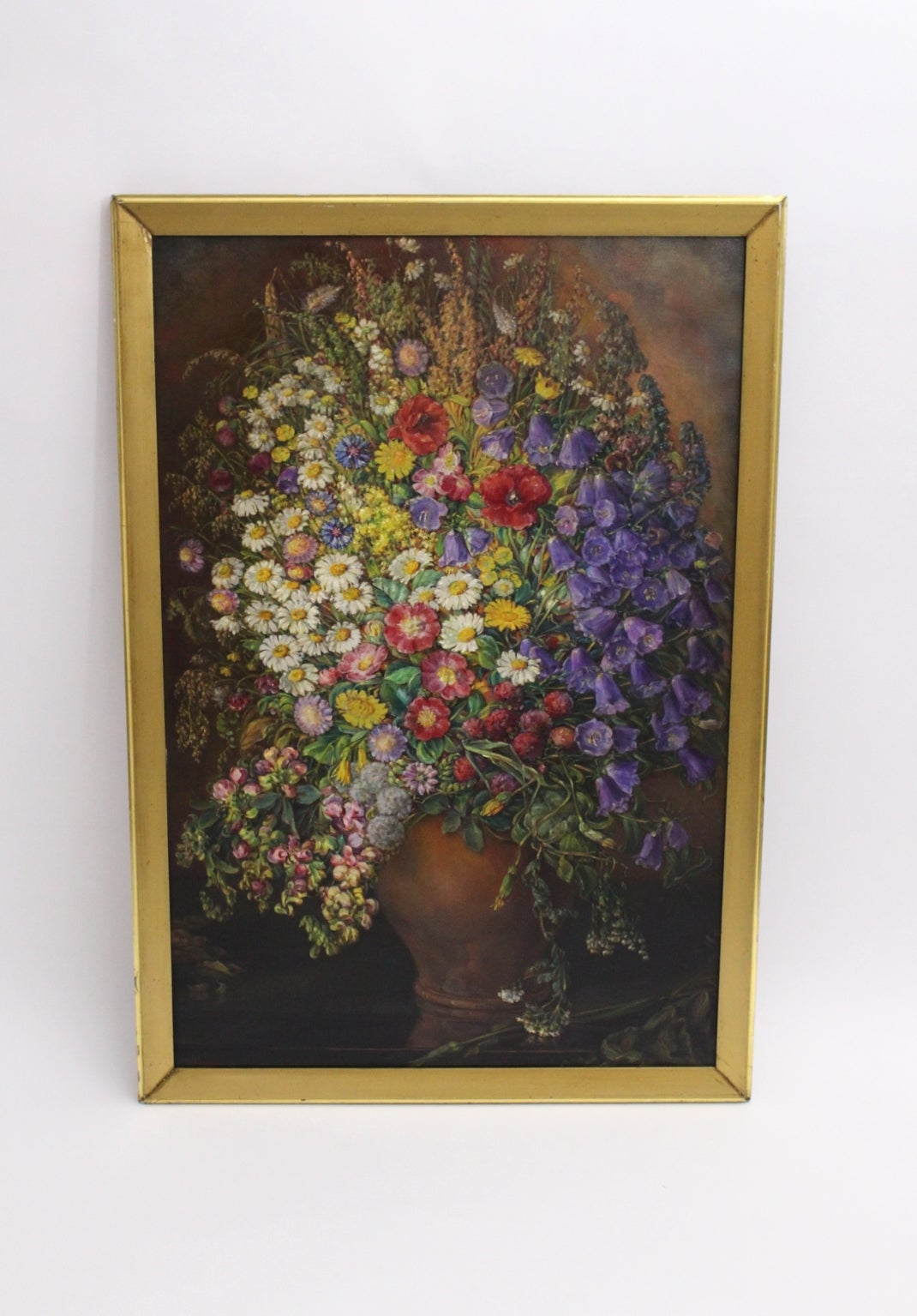 Art Deco Vintage Painting Oil on Canvas Field Flowers by Emil Fiala 1933, Vienna In Good Condition For Sale In Vienna, AT