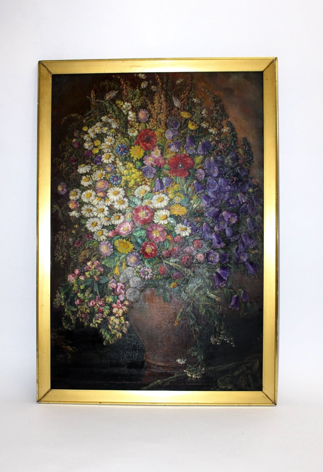 Mid-20th Century Art Deco Vintage Painting Oil on Canvas Field Flowers by Emil Fiala 1933, Vienna For Sale