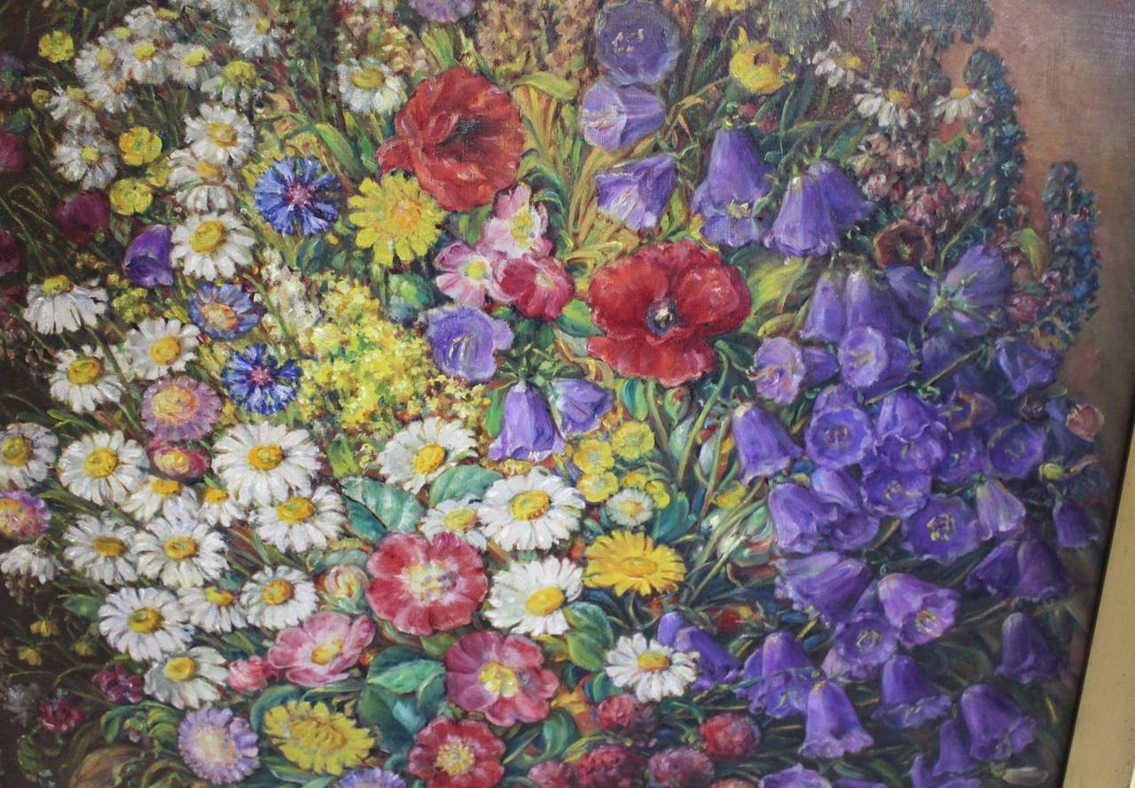 Austrian Art Deco Vintage Painting Oil on Canvas Field Flowers by Emil Fiala 1933, Vienna For Sale