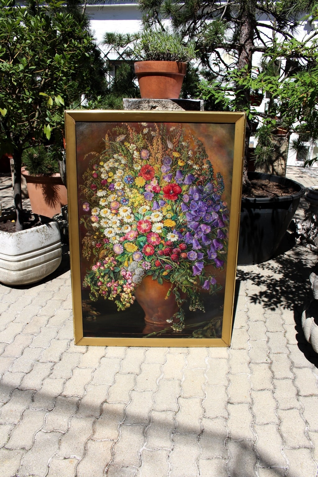 Painted Art Deco Vintage Painting Oil on Canvas Field Flowers by Emil Fiala 1933, Vienna For Sale