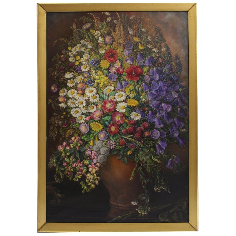 Art Deco Vintage Painting Oil on Canvas Field Flowers by Emil Fiala 1933, Vienna For Sale