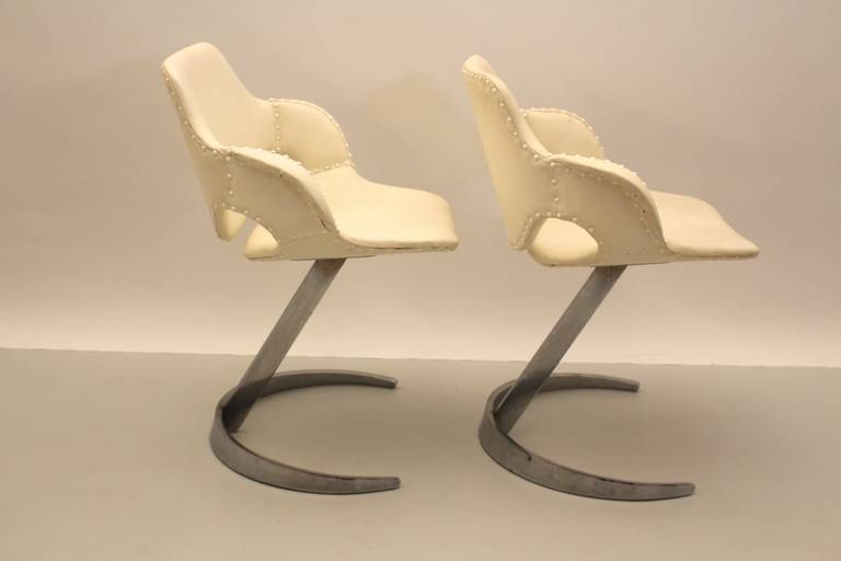 Space Age White Faux Leather And Chromed Metal Chairs By Boris Tabacoff  France 1960s For Sale