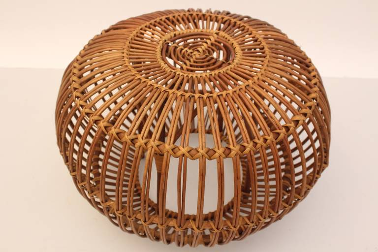 Italian Mid-Century Modern Vintage Rattan Pouf Stool Franco Albini attr Italy, 1950s For Sale