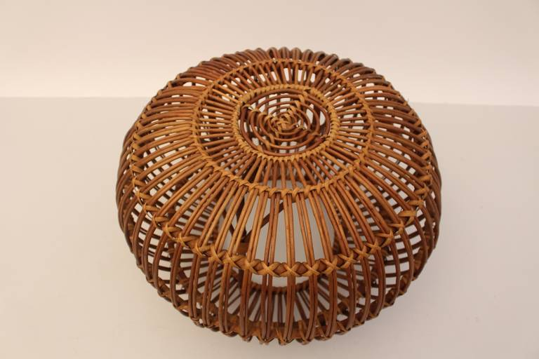 Mid-Century Modern Vintage Rattan Pouf Stool Franco Albini attr Italy, 1950s For Sale 1
