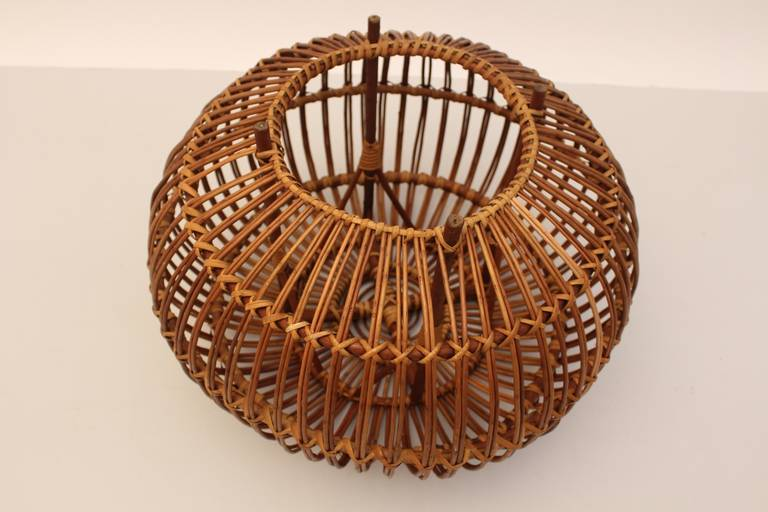 Mid-Century Modern Vintage Rattan Pouf Stool Franco Albini attr Italy, 1950s For Sale 2