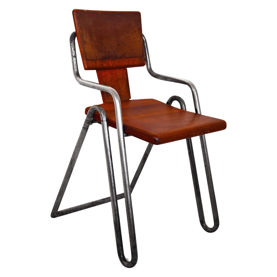 Peter Behrens Bauhaus Industrial Tubular Steel Chair Germany, circa 1930