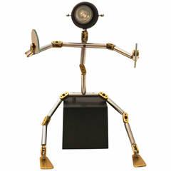 "Post Modern Metal Brass Light Object ""Osqar"" by Ygnacio Baranga, Italy, 1985"