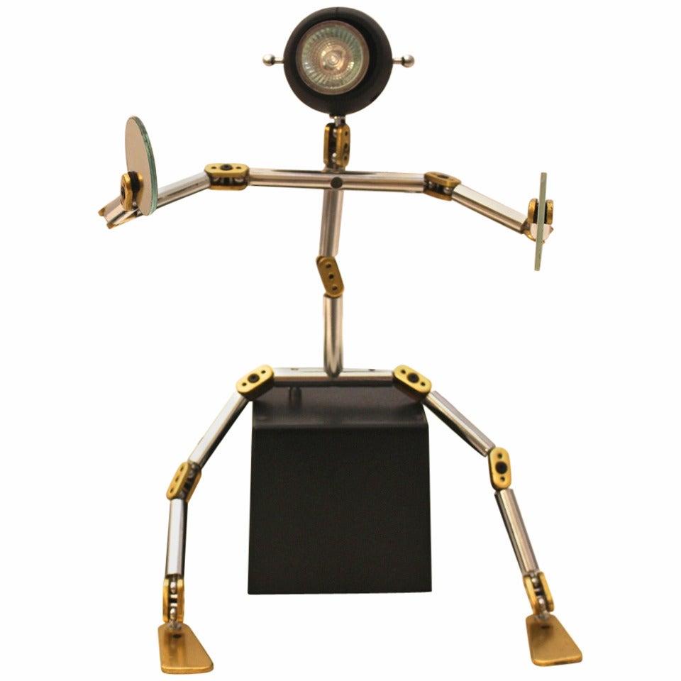 Post Modern Metal Brass Vintage Table Lamp Osqar by Ygnacio Baranga, Italy, 1985