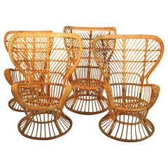 Rattan Vintage Wingback Chairs by Lio Carminati Designed, circa 1948, Italy