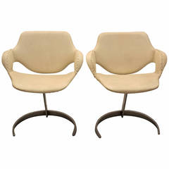 White Faux Leather and Chromed Metal Chairs by Boris Tabacoff  France 1960s